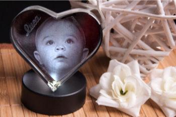 Glasherz - Ihr Foto in Glas gelasert